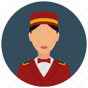 avatar, bellgirl, bowtie, hat, services, uniform icon