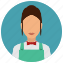 bowtie, cashier, grochery, services, store, woman, avatar icon