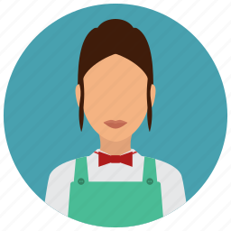 avatar, bowtie, cashier, grochery, services, store, woman icon