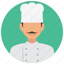 avatar, chef, cook, hat, jacket, man, services icon