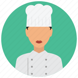 avatar, chef, hat, jacket, services, woman icon