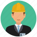avatar, business, construction, helmet, man, services, tie icon