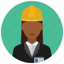 avatar, badge, business, construction, hat, services, woman icon
