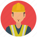 avatar, construction, helmet, jacket, man, services icon