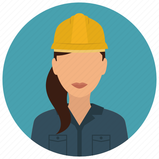 avatar, construction, helmet, services, woman icon