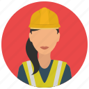 avatar, construction, helmet, jacket, services, woman icon