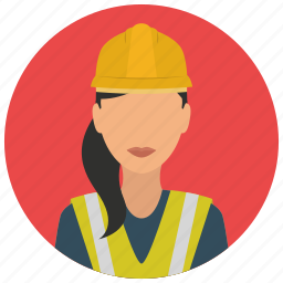 avatar, construction, helmet, jacket, services, woman icon