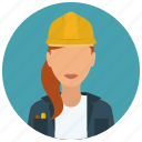 avatar, construction, contruction, helmet, jacket, services, woman icon