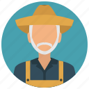 avatar, beard, farmer, man, old, services icon