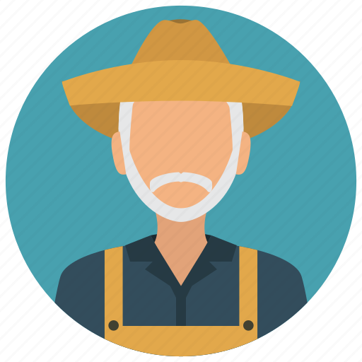 avatar, beard, farmer, man, old, services icon
