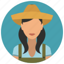 avatar, farmer, hat, services, woman icon