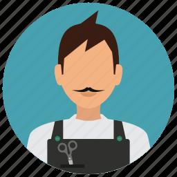avatar, hairdresser, man, scissors, services icon
