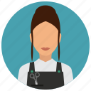 avatar, female, girl, hairdresser, scissors, services, woman icon