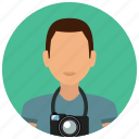 avatar, camera, man, photographer, photography, services, user icon