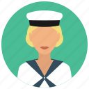 avatar, hat, military, sailor, services, ship, woman icon
