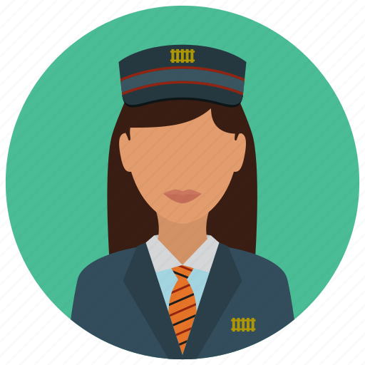 avatar, hat, services, station, tie, train, woman icon