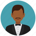 avatar, bowtie, jacket, man, services, waiter icon