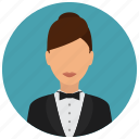 avatar, bowtie, jacket, services, waiter, woman icon