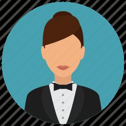 avatar, bowtie, jacket, services, waiter, woman icon