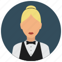 avatar, bowtie, services, shirt, waiter, woman icon