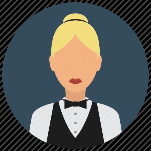 avatar, bowtie, services, shirt, waiter, woman icon