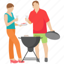 bbq grill, camp food, grilled food, honeymoon, picnic food icon