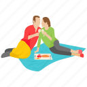 couple, couple picnic, married couple, outdoor couple, outdoor picnic icon