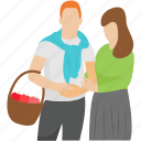 couple, honeymoon, outdoor picnic, picnic, tourist couple icon