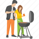 bbq cooking, couple cooking, grilled food, outdoor food, picnic food icon