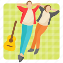 couple relaxing, couple resting, honeymoon, outdoor fun, picnic point icon