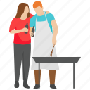 bbq food, couple fun, outdoor cooking, picnic couple, picnic food icon