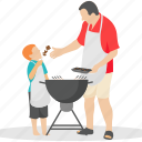 bbq, camp food, family picnic, family time, grilled cooking icon
