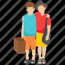 adventurous persons, honeymoon, tour persons, tourist couple, tourists icon