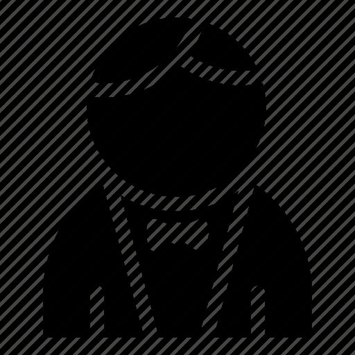 bow tie, hotel, man, restaurant, room service, waiter icon