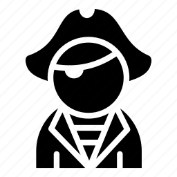 avatar, eye patch, man, pirate, user icon