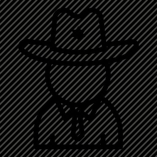 avatar, cop, cowboy hat, man, police, sheriff icon