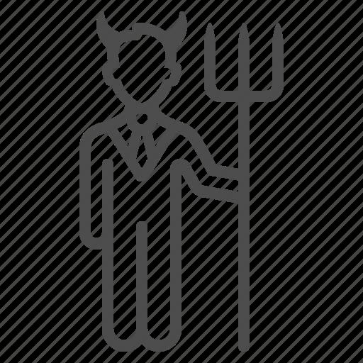 businessman, demon, devil, lawyer, man, people, pitchfork icon