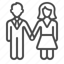 couple, dating, holding hands, man, marriage, people, woman icon