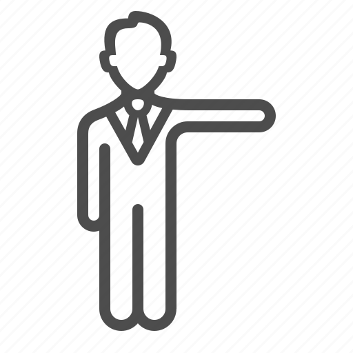 businessman, man, people, pointing, politician, teacher icon