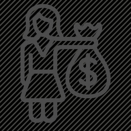 businesswoman, buying, money, money bag, paying, shopping, woman icon