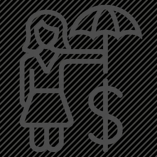 businesswoman, dollar, insurance, investment, umbrella, woman icon