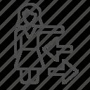 arrow, businesswoman, direction, girl, navigation, teacher, woman icon