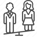 couple, man, marriage, people, relationship, seesaw, woman icon