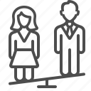 couple, man, marriage, people, relationship, see saw, woman icon
