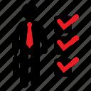 approve, checklist, human icon, male, male icon, manager, stickman icon