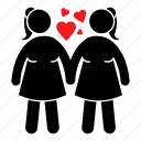 couple, date, female, girl, lesbian, love icon