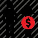 dollar, human icon, increasing, male, money, stickman icon