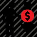 decreasing, dollar, human icon, male, money, stickman icon