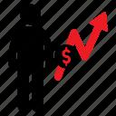 currency, dollar, human icon, increasing, male, money, stickman icon