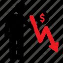 currency, decreasing, dollar, human icon, male, money, stickman icon